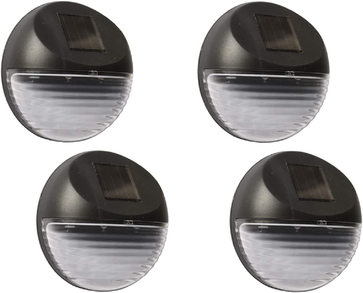 Solar Powered Wall Lights 4 Pack Solar Power Fence Lights Outdoor Solar Stair Lights 2 LED Step Light Wall Mount Garden Path Step Lights for Garden Fence Walkways Stairways Path Pathway