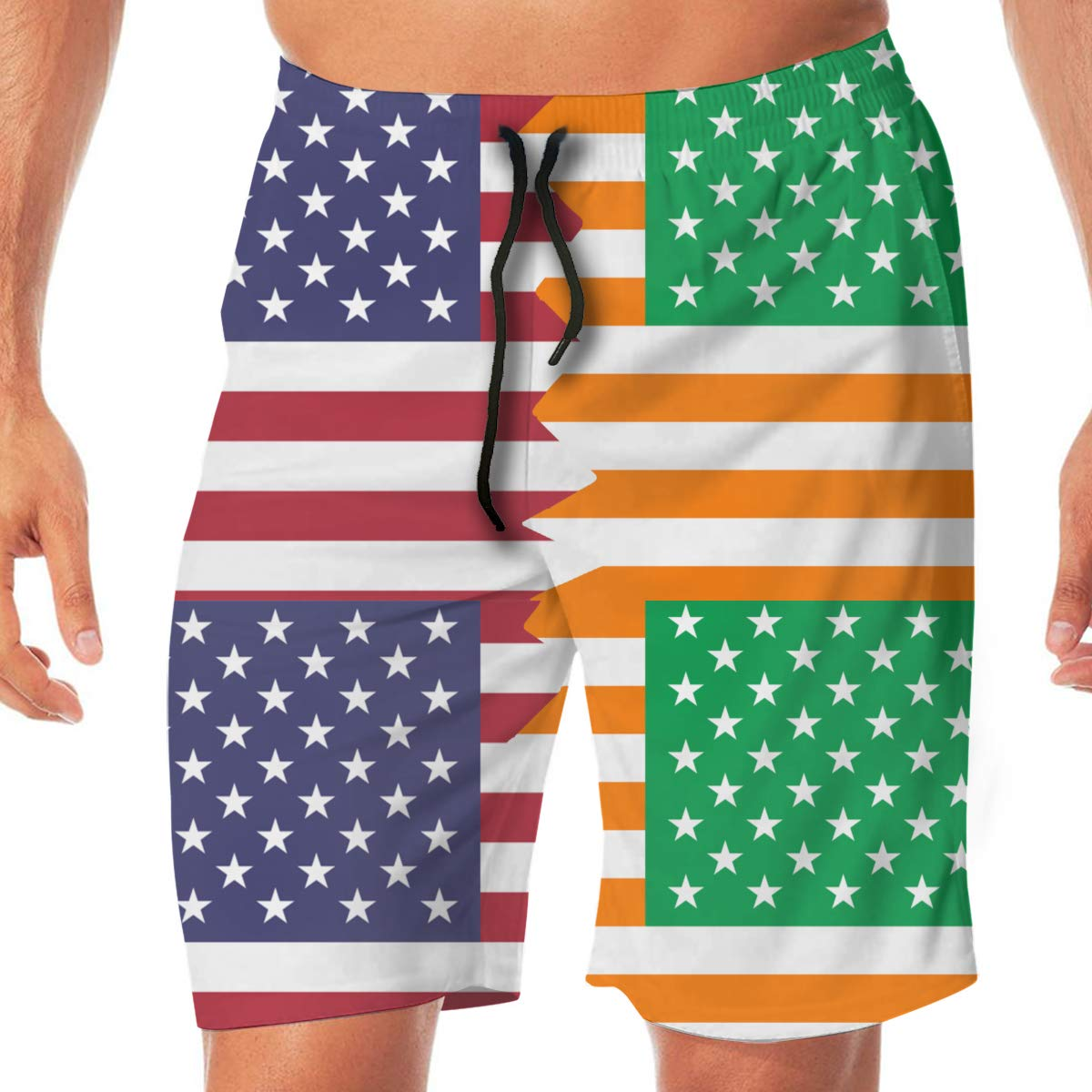 Men Bathing Suit American Irish United States Casual Sport Beach Board Short with Pocket