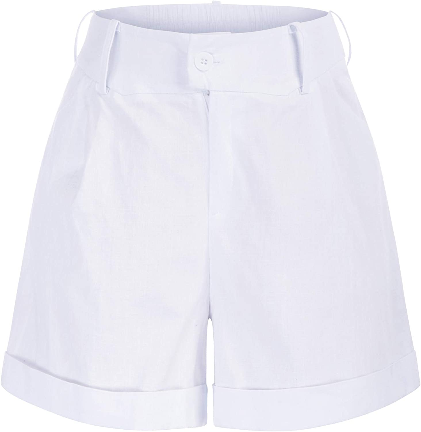 Vintage Shorts, Culottes,  Capris History Belle Poque Women Summer Linen Shorts Elastic High Waisted Shorts with Pockets $19.99 AT vintagedancer.com