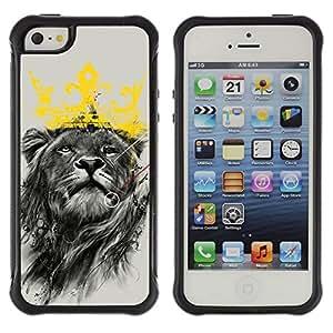ZAKO Cases / Apple Iphone 5 / 5S / King Lion / Robusto Prueba de choques Caso Billetera cubierta Shell Armor Funda Case Cover Slim Armor