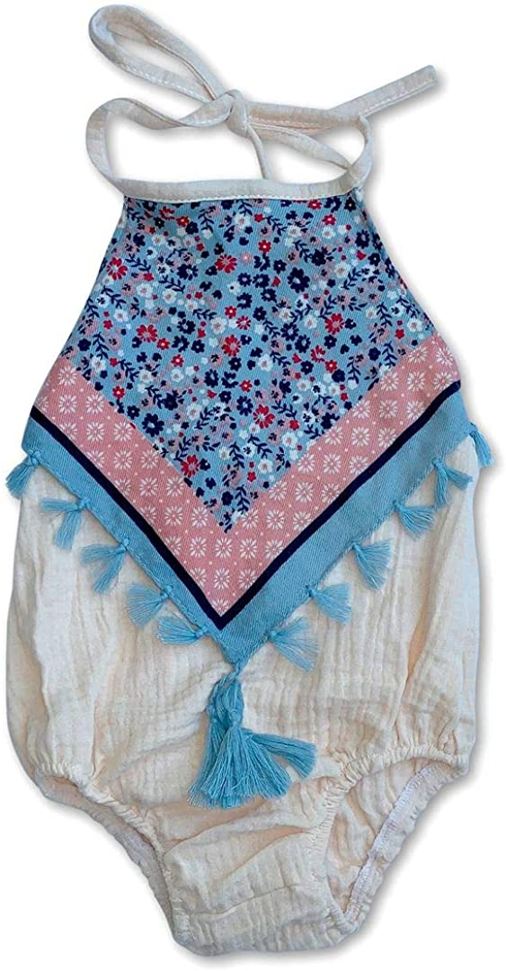 Sol Baby Cream Gauze Halter Bubble with Floral Scarf Overlay