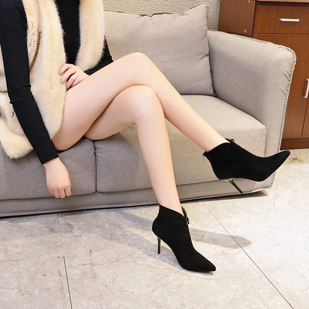 Stiefel Stiefeletten Stiefeletten Stiefeletten Kurz Stiefeletten Schuhe Winterstiefel Langschaft Stiefel Frau Spitzte Schwarze Stilettstiefel Weibliche Stiefel Plus Samt ZHAOYONGLI 4893de