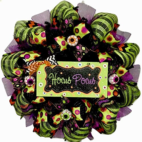 Hocus Pocus Crazy Eyeball Halloween Wreath Handmade Deco Mesh