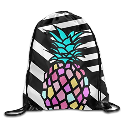 3D Print Drawstring Backpack Rucksack Shoulder Bags Gym Bag Lightweight Travel Backpack Cool Pineapple cheap