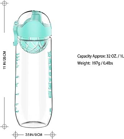 Antigoteo y sin Sudor Hydracy Botella de Agua 500ml 1Liter con Marcador de Tiempo Sin BPA con Filtro de Infusi/ón de Frutas Ideal para el Ejercicio y los Deportes al Aire Libre