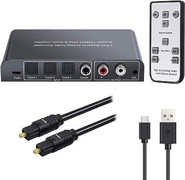 Neoteck DAC 192kHz Convertidor Digital a Analógico 3 SPDIF Óptico Toslink+1 Coaxial a Analógico Estéreo L/R RCA con 3.5mm Audio con Control Remoto por IR Soporte Control de Volumen Encendido/Apagado: Amazon.es: Electrónica