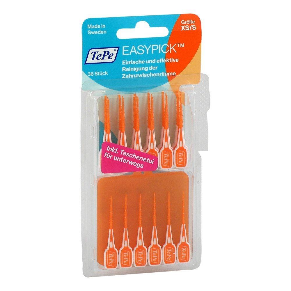 TePe Easy Pick Interdental Brush, Orange, Size: XS/S, Pack of 1 x 36 by TePe 242310