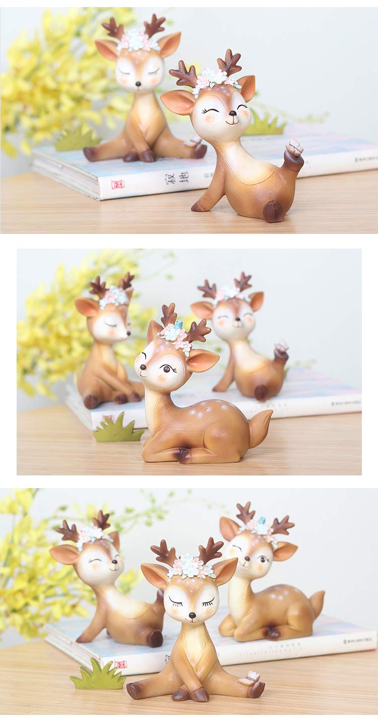 Youfui Cake Topper Party Supplies Cake Decoration for Girls, Birthday Party, Baby Shower & Wedding Home Decor Car Interior Decoration (4pcs Deers Eden) by Youfui (Image #6)