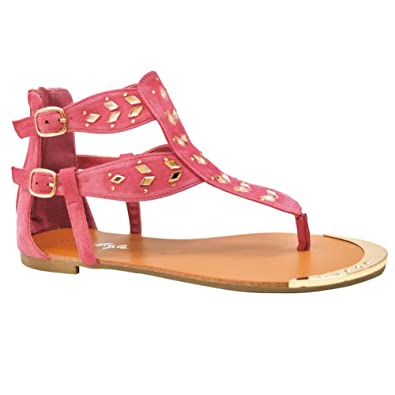 78e77cf66bf338 Herstyle Women s Manmade Wyylee T-Strap Sandal with Shining Gold-Tone  Accents Fuchsia 7