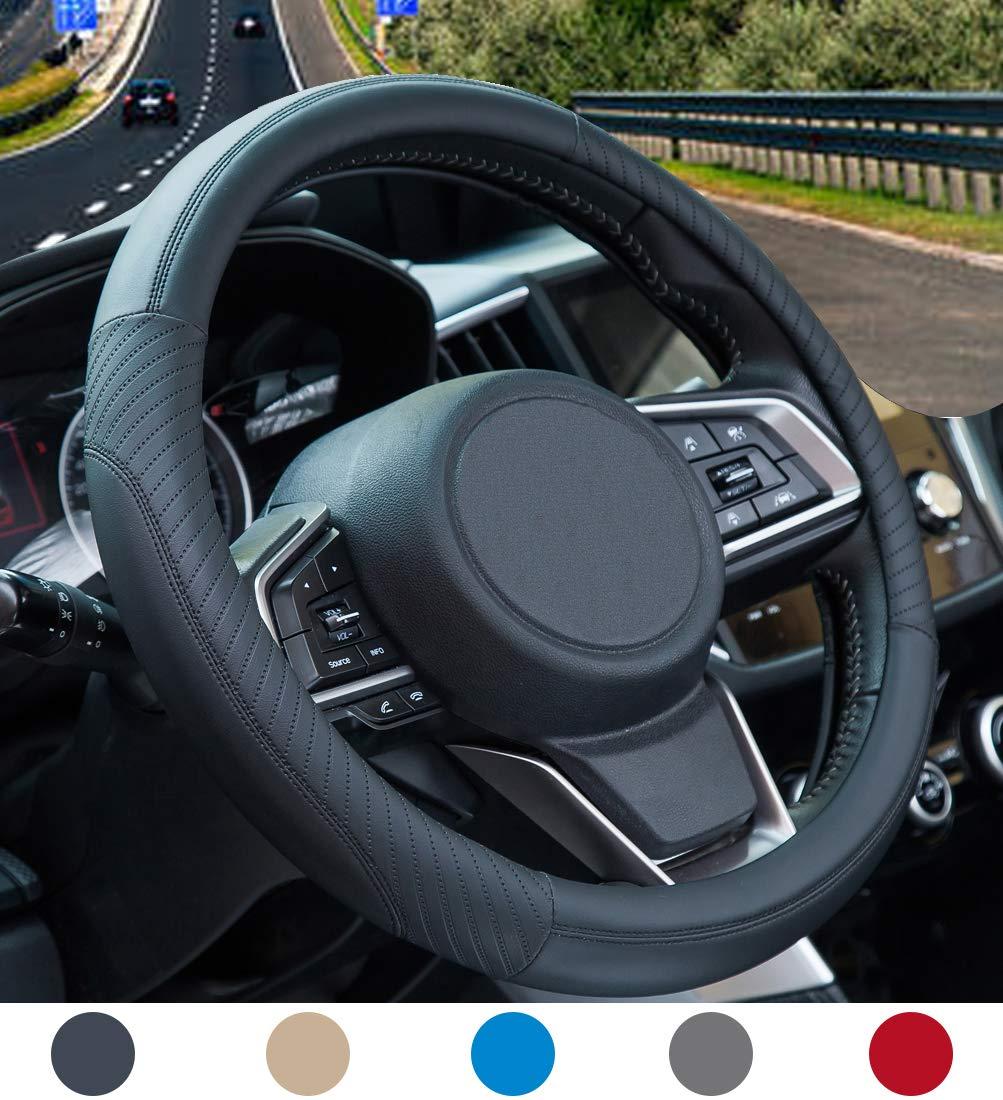 Nero con Rosso Traspirante Antiscivolo Coprivolante Auto in Pelle Coprivolante in Morbida Microfibra Universale 37-38 cm // 14.5-15 pollici
