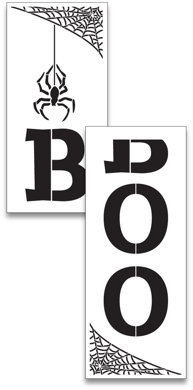 Large 48'' Boo Stencil with Word for Painting on Wood | Reusable Mylar | Ideal for DIY Crafting Tall Vertical Scary Halloween Porch Signs - Pallet (Rustic Entrance Sign) 48'' x 12'' 2 Pcs