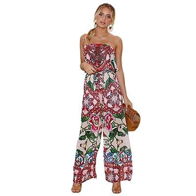 Anguang Femme Mode Épaules Dénudées Jumpsuit Combinaison Imprimé Bohême Pantalon Playsuit