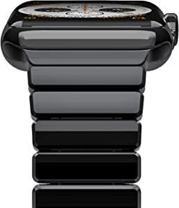 Cogift Watch Band for Apple Watch Series6, 44mm/42mm Stainless Steel Replacement Strap Link Bracelet Metal iWatch Band with Double Button Folding Clasp for Apple Watch 6/5/4/3/2/1/SE-Bright Black