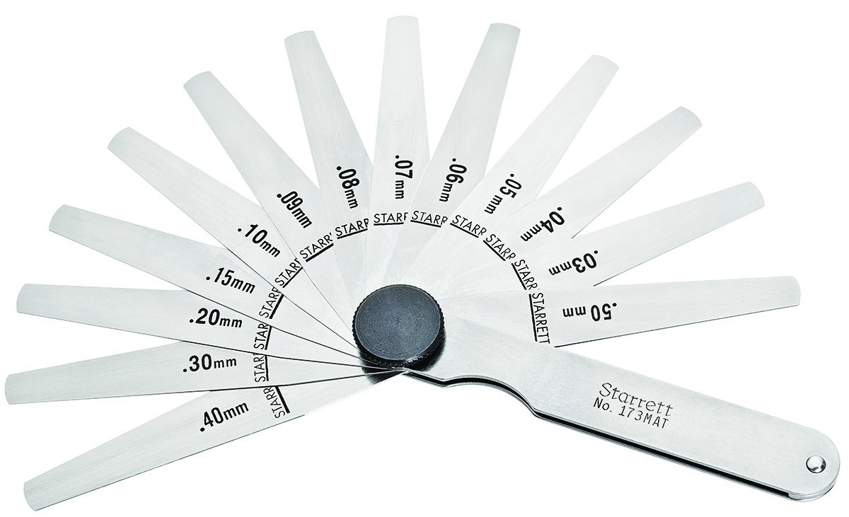 Starrett 172MBT  Thickness Feeler Gage Set, Tapered Leaves, 0.04-0.30mm Thickness, 12.7mm Width, 114mm Length, 9 Leaves