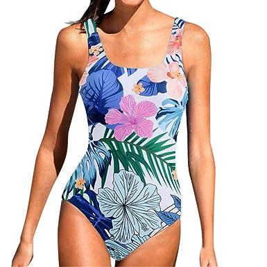 e386ba48b1 Maillot de Bain Floral Imprimé 1 Piece Triangle Set Grande Bandeau Swimwear  Soutien-Gorge Natation