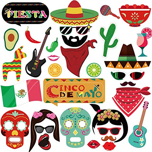 (Supoice Fiesta Photo Booth Props, Mexican Cinco De Mayo Party Photo Props Perfect for Mexician Party Decoration Supplies)