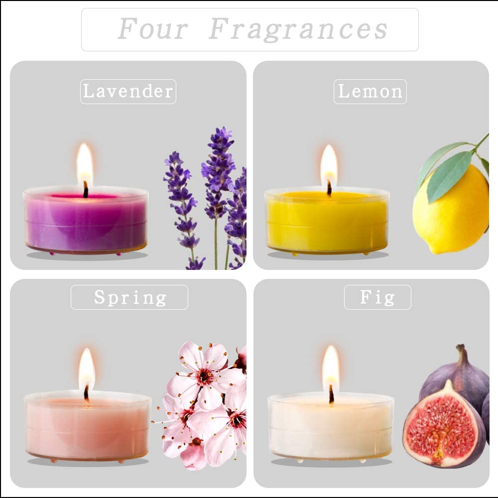 Essential Oil Candle Aromatherapy Candles Bulk (48 Pack)   Long Lasting Burning Soy Tea Lights   Scented Tealight Candle Used for Candle Holder   Gifts Set for Women, Small Cute Candles for Home: Home & Kitchen