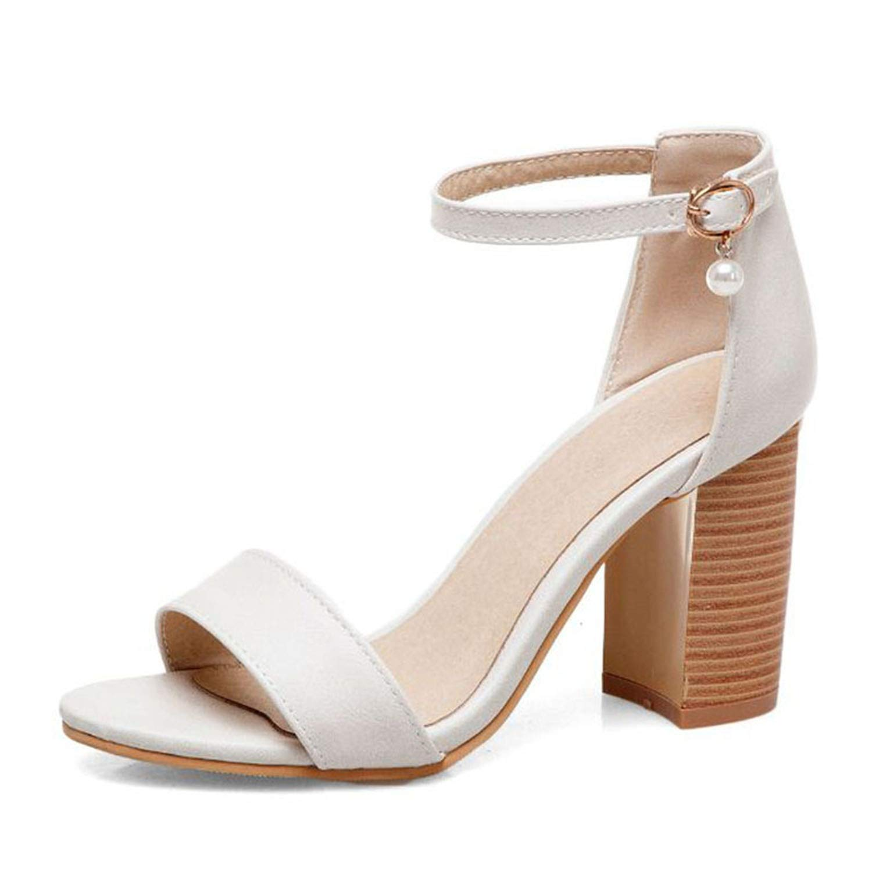 Beige Spring Women Simple Bead Buckle Sandals High Heels Wedding Dating Party shoes