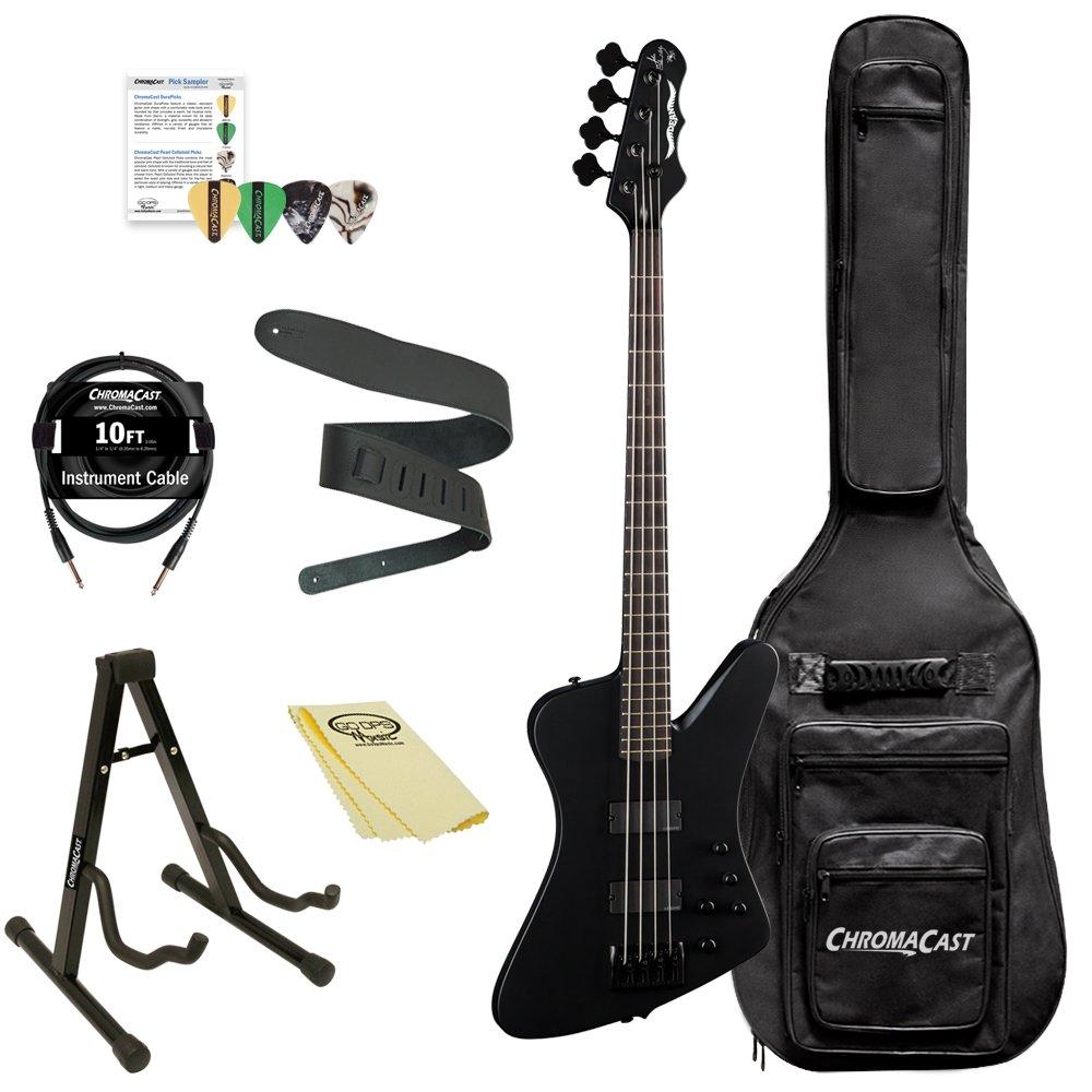 Dean Guitars John Entwistle Hybrid Pro Bass Guitar Kit with ChromaCast Accessories, Black Satin JE HYBRID PRO BKS-KIT-1