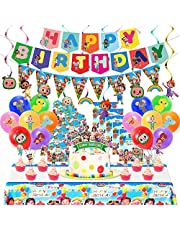 Coco-melon Birthday Party Supplies, Party Decorations Set, Party Decorations for Kids Included Theme Banner, Table Cloth, Latex Balloons, Plastic Swirls, Cake Topper, Gift Bags, Pennant, Invitation Cards