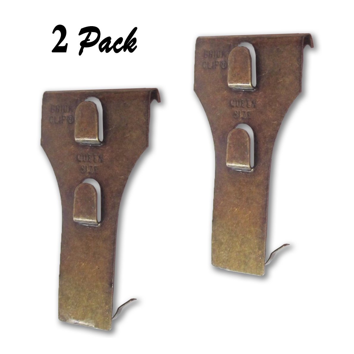 Queen Size Brick Clip Fastener Hanger Supports 25lb Fits 2.5'' -2.75'' (2 Pack) Bricks