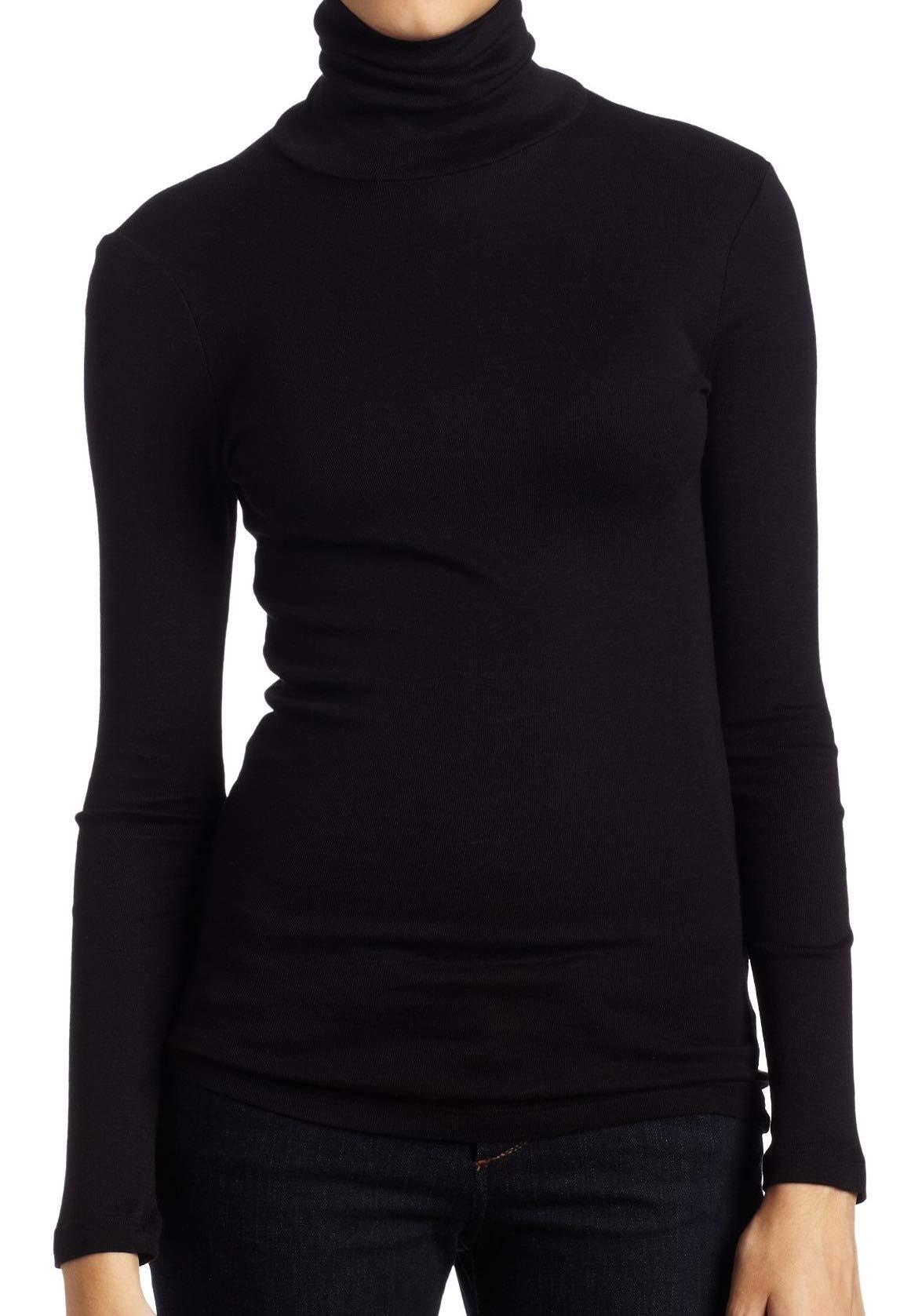 Splendid 1×1 Rib Long Sleeve Turtleneck Tee T-Shirt