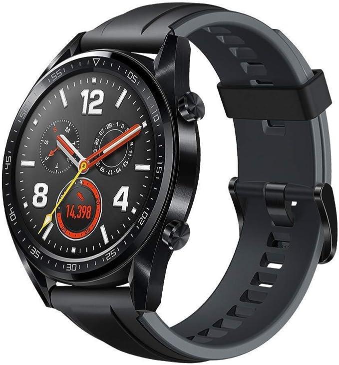 huawei watch gt sport smartwatch 46 mm amoled touchscreen gps fitness tracker herzfrequenzmessung 5 atm wasserdicht schwarz