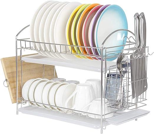 Amazon Com Skywin Kitchen Dish Rack Over Sink 2 Tier Dish Rack