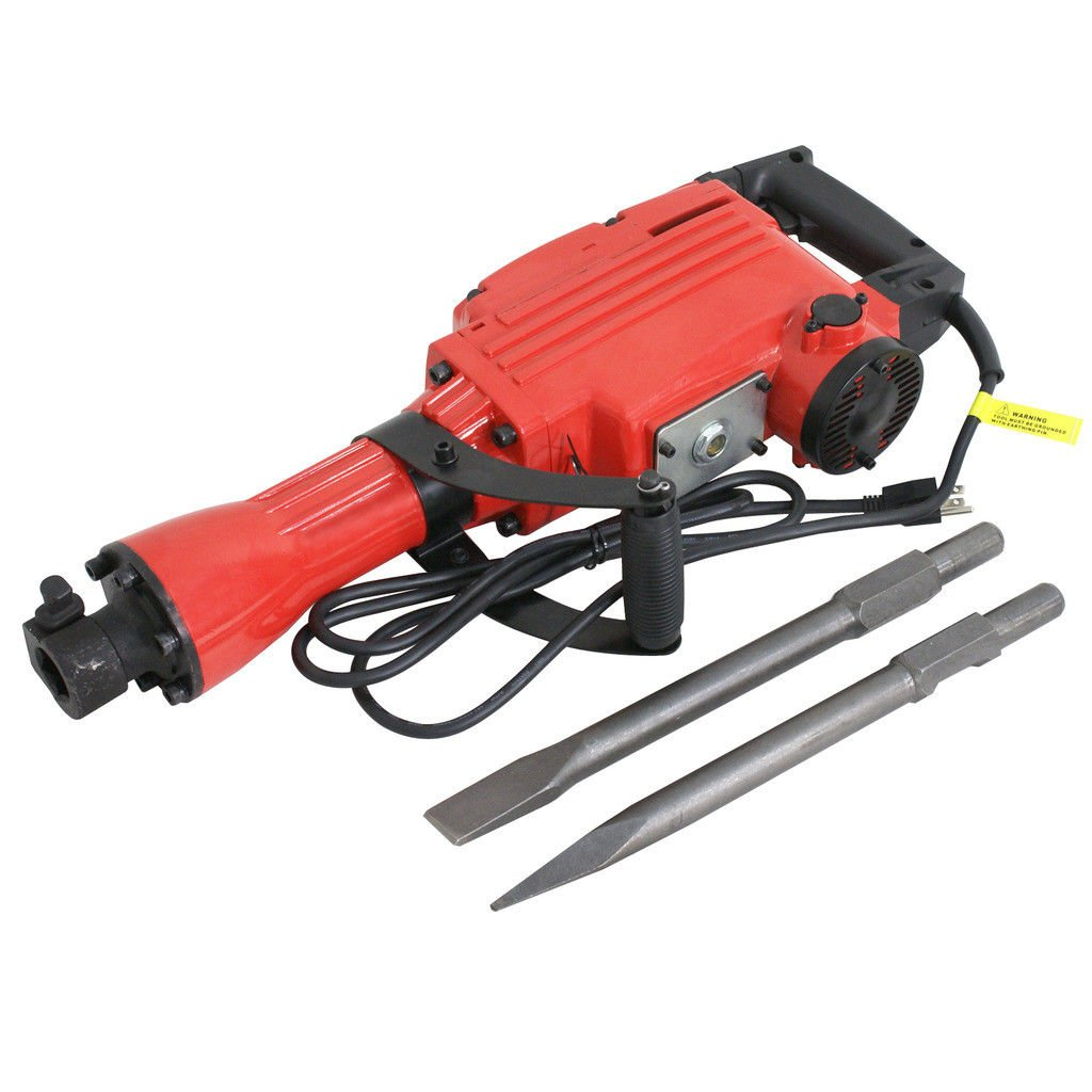Red 2200W Electric Demolition Jack Hammer Construction Concrete Breaker Punch 2 Bits
