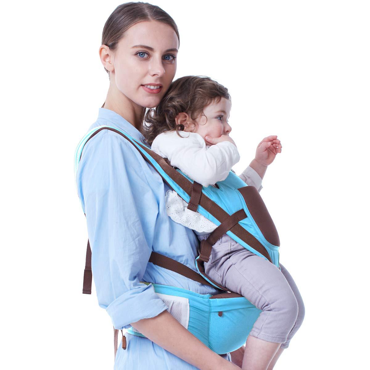 Babytrage H/üftsitz FreeQueen Freisprecheinrichtung Babytragetaschen Atmungsaktiv Verstellbare Rucksacktragen in ergonomischer Position 4 Tragem/öglichkeiten Babytragetasche f/ür Kleinkinder