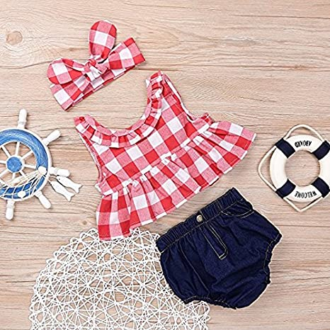0c6fe05266ee Amazon.com  Baorong Baby Girls Plaid Ruffle Bowknot Tank Top Denim ...