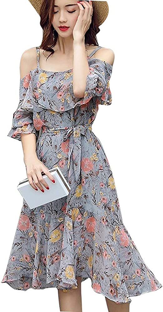 DAYLIN 1PC Womens Clearance Women Lady Daily Beach Bohemia Casual Off Shoulder Floral Leaf Printed Sparkly Capelet Loose Playsuit Hot Sell