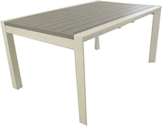 Edenjardi Mesa para Exterior Extensible de 160 cm a 220 cm, Aluminio Color Blanco y Tablero Color Gris, Tamaño: 160/220x98x76 cm: Amazon.es: Jardín