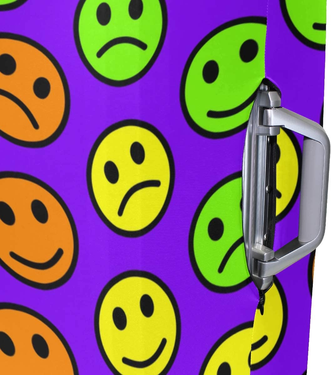 FOLPPLY Funny Colorful Emoji Smile Sad Luggage Cover Baggage Suitcase Travel Protector Fit for 18-32 Inch