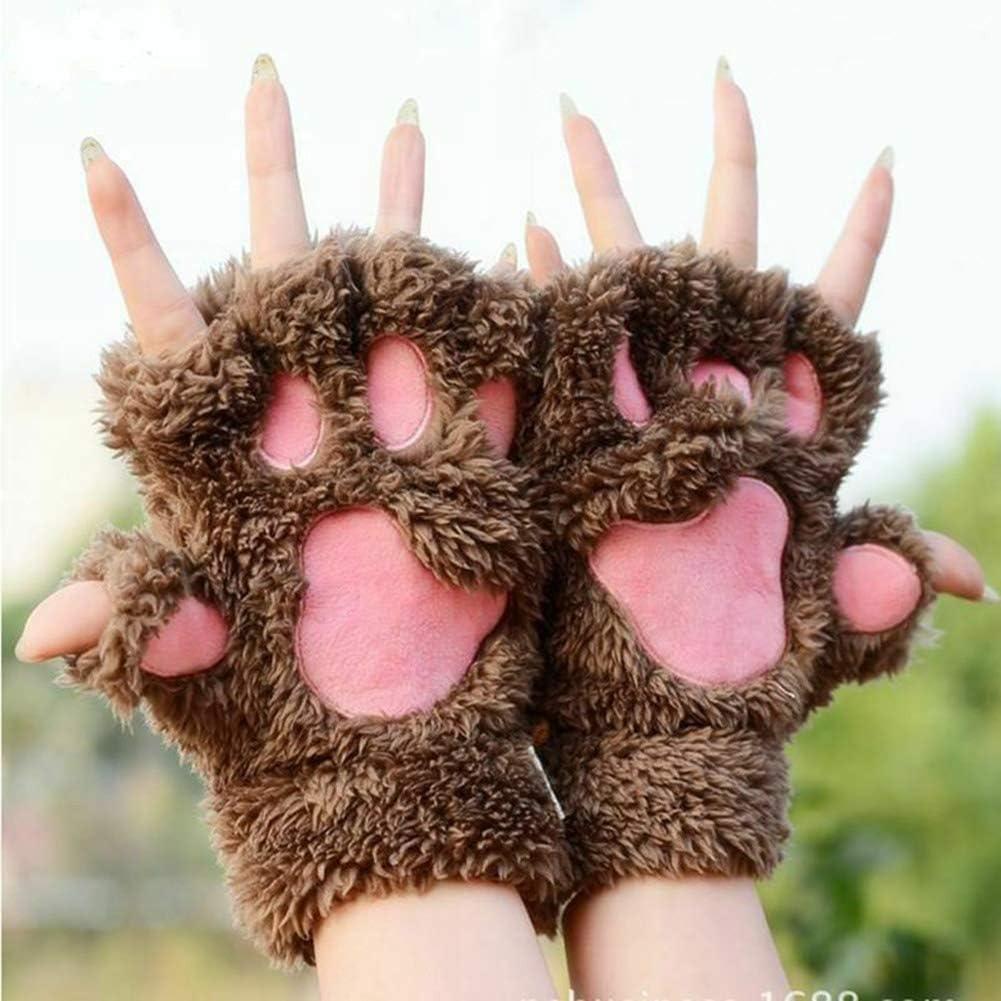 Pl/üsch elastisches Material warm M/ädchen dick modischer Hals weich gef/üttert Mysracing s/ü/ßes Studenten-Herz-Handschuhe Katzen-Handschuhe sehr warm elastisch halbe Finger