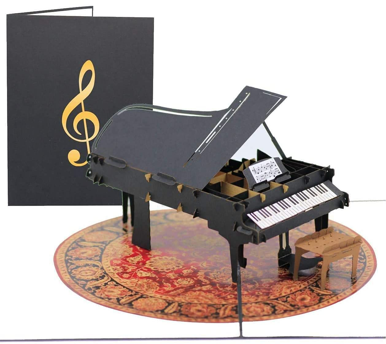 PopLife Grand Piano Pop Up Card for All Occasions - Happy Birthday, Graduation, Father's and Mother's Day, Congratulations, Retirement, Thank You - Musicians, Teacher & Students, Gift for Music Lovers