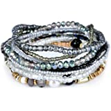 MengPa Bohemian Crystal Colorful Stretch Bead Multilayer Bracelets for Women