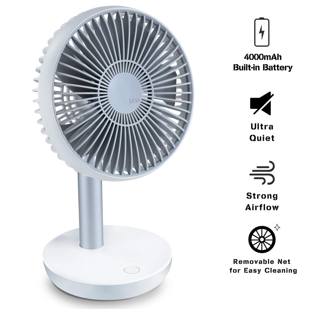 Ayslen 10.6 Inch USB Desk Fan Portable, Personal Table Fan with Adjustable Angle and 4 Speeds, Ultra-Quiet, Air Circulation, Built-in Rechargable 4000mAh Battery for Office, Home, Outdoor, Small Fan