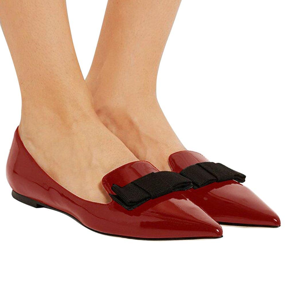 Eldof Women's Flats, Pointed Toe Flats Flats Pumps, Patent Leather Flats Toe Pumps, Walking Dress Office Classic Comfortable Flats B07DHKG5K6 8.5 B(M) US|Wine a2786b