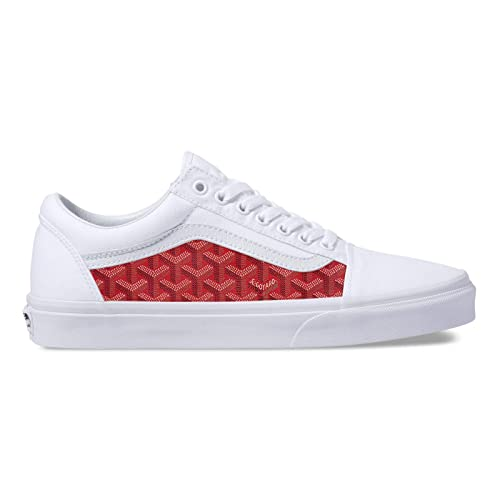 Amazon.com  Vans White Old Skool x Red Goyard Custom Handmade Uni-Sex Shoes  By Patch Collection  Handmade 4dbe01041