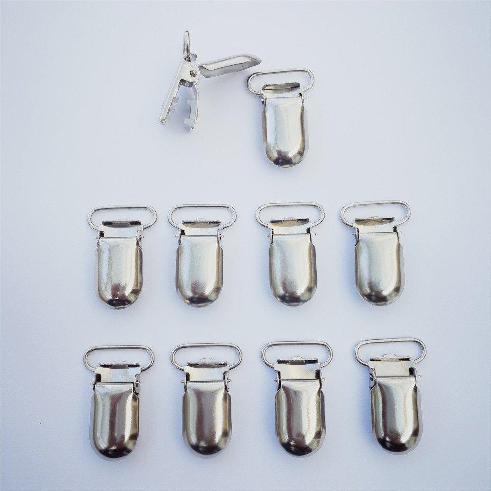 25pcs 20mm Pacifier Suspender Clips, JerryMart Pacifier Clips for Making Pacifier Holders Bib Clips Toy Holder Silver
