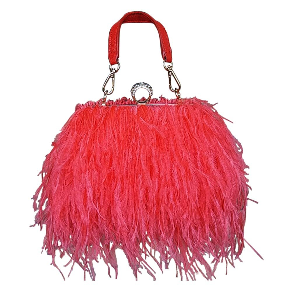 Zakia Real Natural Ostrich Feather Evening Clutch Shoulder Bag Party Bag (red)