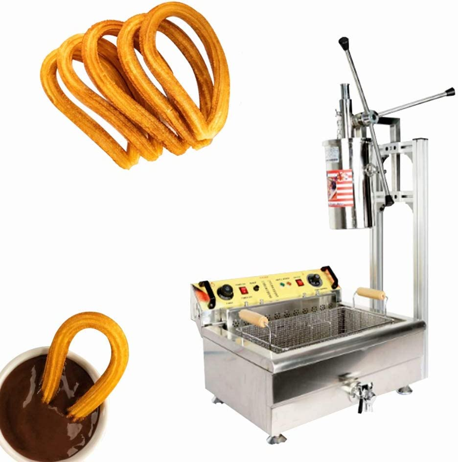 JIAWANSHUN 5L Commercial Churros Maker Spanish Churros Making Machine with 30L Electric Deep Fryer 4 Molds One Mold for 3 Holes (110V)