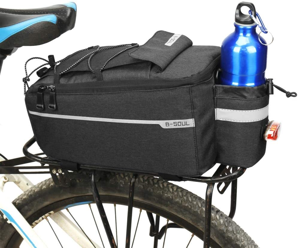 Ehinew Bike Bag Bicycle Panniers,Bicycle Rear Rack Bags, Cycling Trunk Pack Reflective Waterproof MTB Bike Pannier Shoulder Bag with Water Bottle Pocket Adjustable Adhesive Mounting Straps