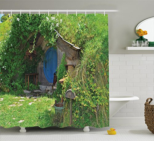Ambesonne Hobbits Shower Curtain Set, Fantasy Hobbit Land House in Magical Overhill Woods Movie Scene Image New Zealand, Fabric Bathroom Decor with Hooks, 70 inches, Green Brown Blue by Ambesonne