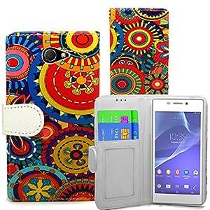 Accessory Master- Funda Libro Cartera de pu Cuero para Sony Xperia M2 - Varios Diseños Coloridos