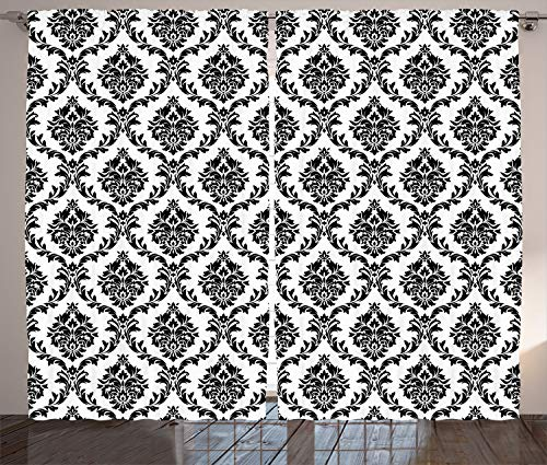 - Ambesonne Damask Decor Collection, Damask Pattern Classical Monochromic Illustration Antique Decorating Art Print, Living Room Bedroom Curtain 2 Panels Set, 108 X 90 Inches, Black White