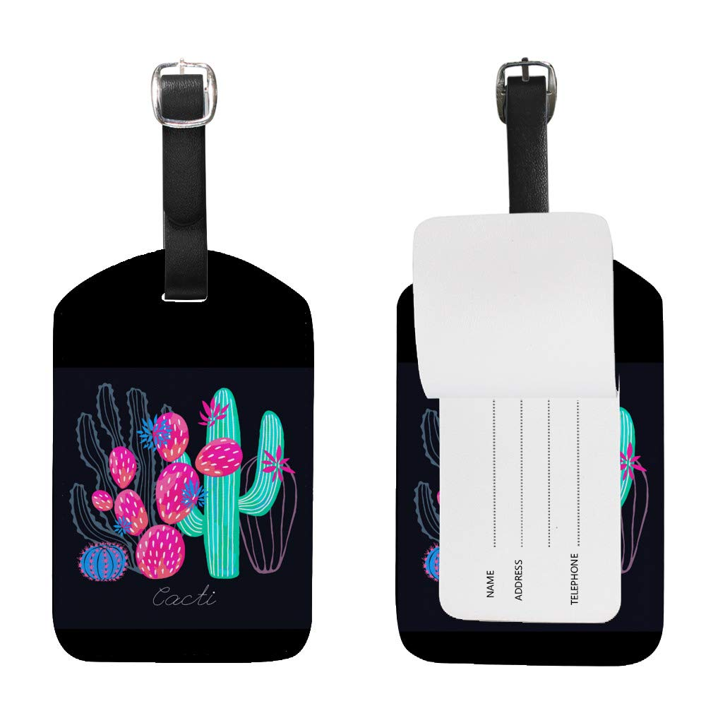 Luggage Tags PU Leather Tags Suitcase Labels Travel Bag With Privacy Cover Cactus Succulent Wild Flowers Colorful Watercolor Creative Pattern Printing 2pcs