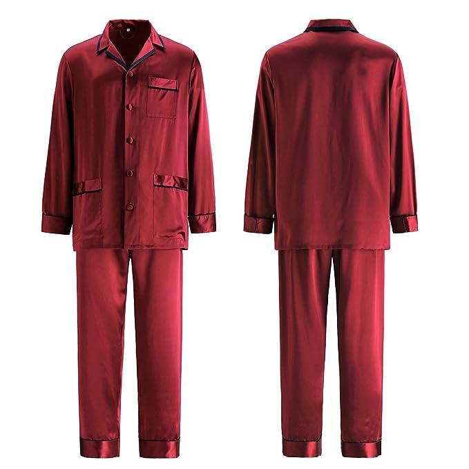 LILYSILK Pijamas Hombre Seda Estilo de Negociación,100% Seda De Mora De 22 Momme