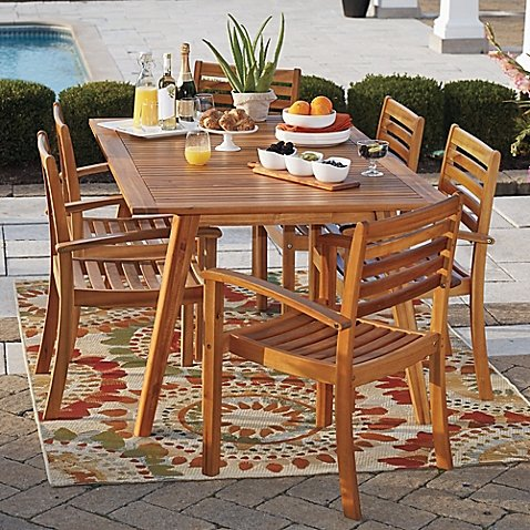 Westerly Acacia Wood 6-Person Saddle Table